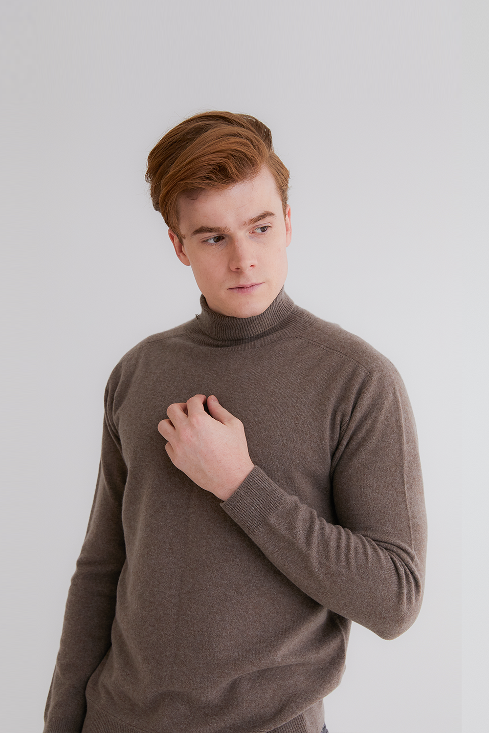 Pure cashmere100 turtleneck sweater by whole-garment knitting - Warm brown (인기 상품)