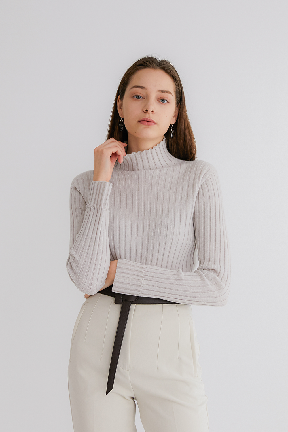 Pure cashmere100 ribbed soft-touch sweater by whole-garment knitting - Dove gray (인기 상품)