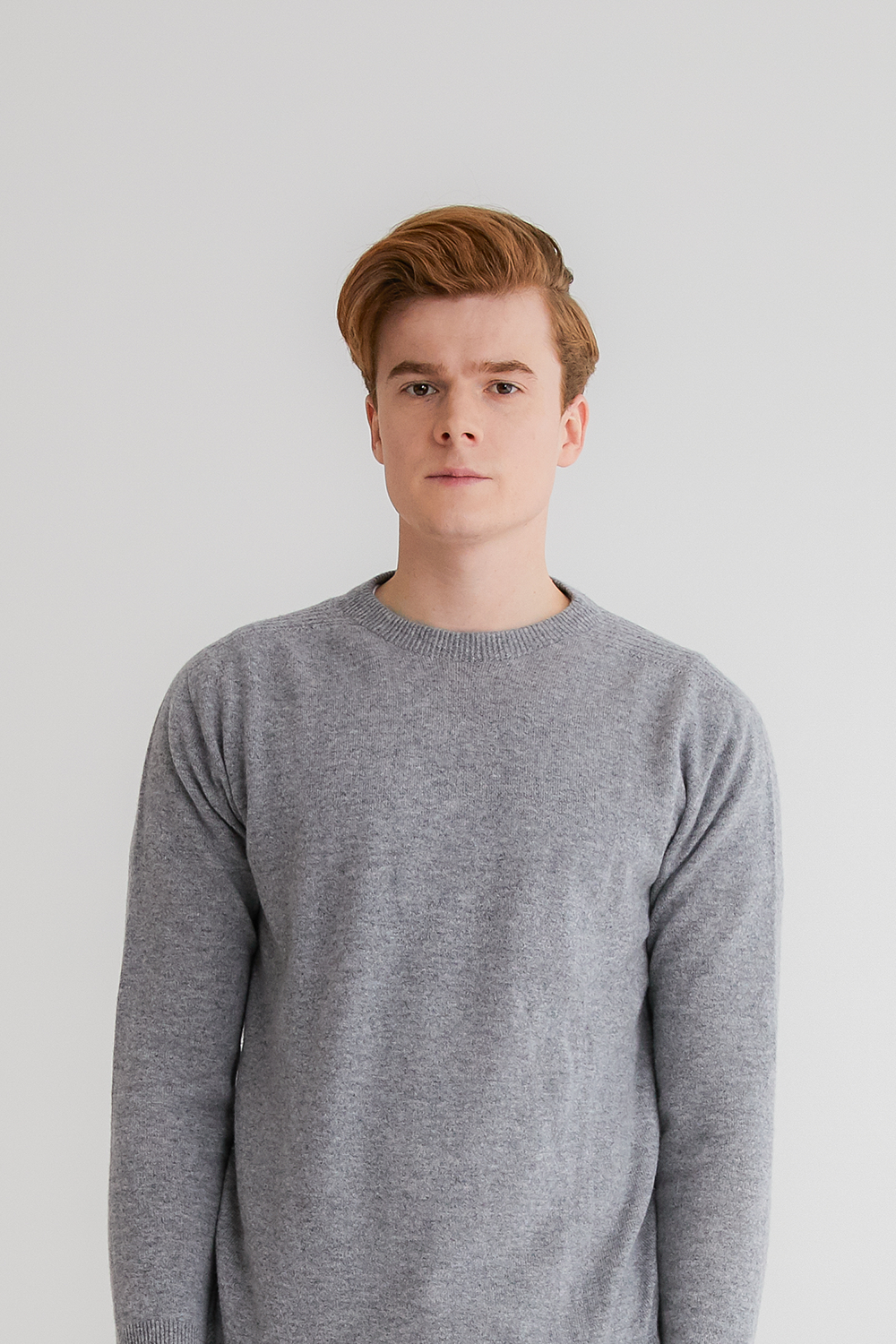 Pure cashmere100 whole-garment knitting roundneck pullover - Light gray (인기 상품/ M 사이즈 2차 재입고)
