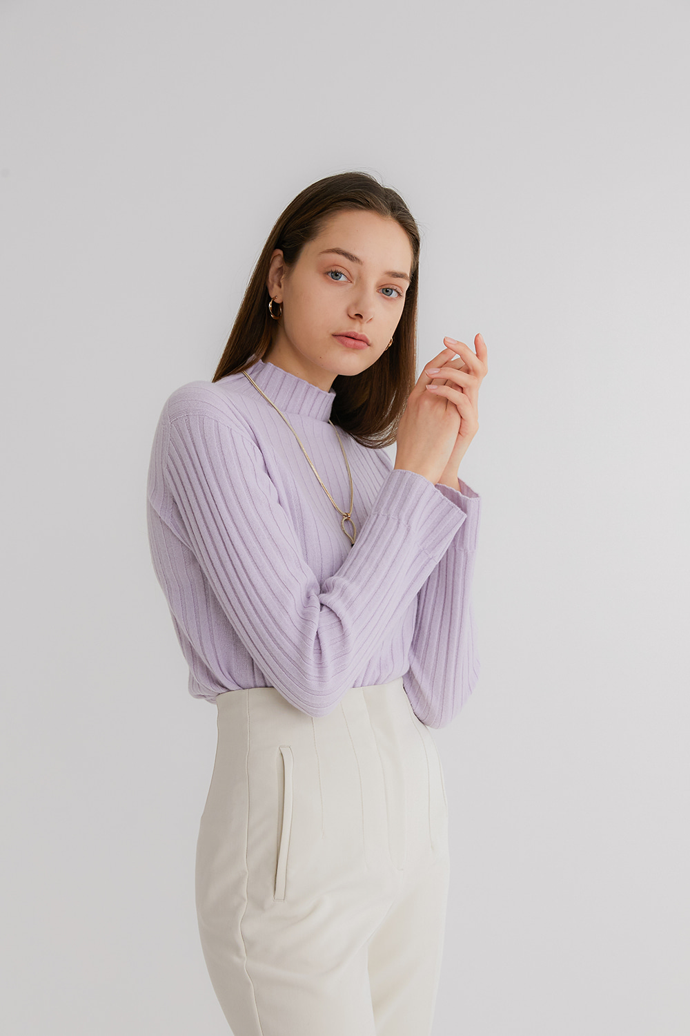 프리미엄 캐시미어 100 골지 스웨터 [Pure cashmere100 ribbed soft-touch sweater by whole-garment knitting - Lavender]