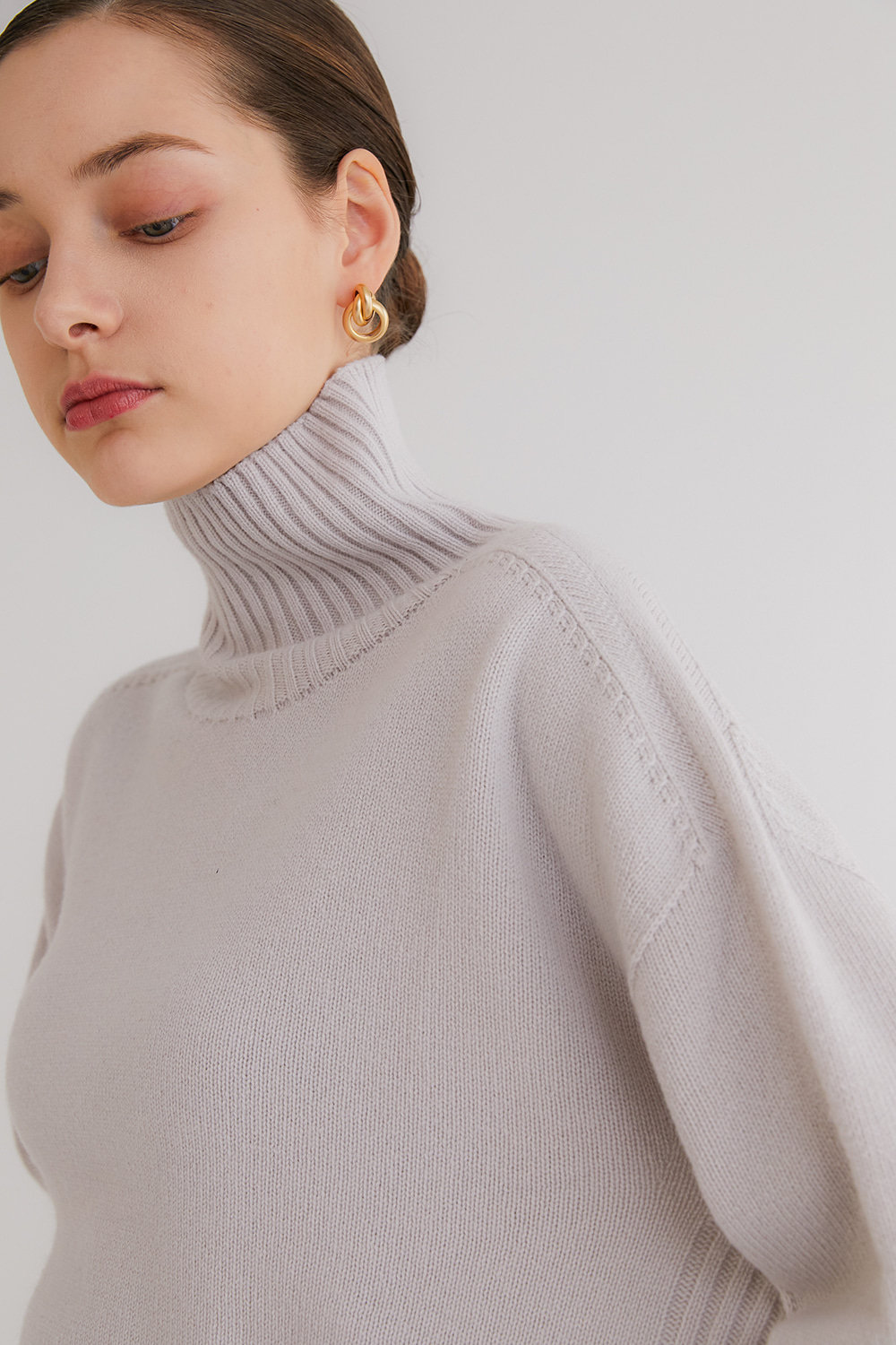 Pure cashmere100 whole-garment knitting turtleneck pullover - Dove gray (인기 상품/한정 수량/주문 폭주)