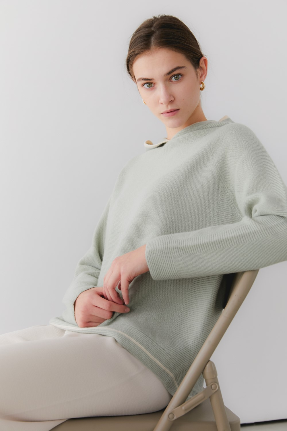 프리미엄 캐시미어 100 홀가먼트 후디 [Premium pure cashmere100 whole-garment knitting hoodie - Sage mint]