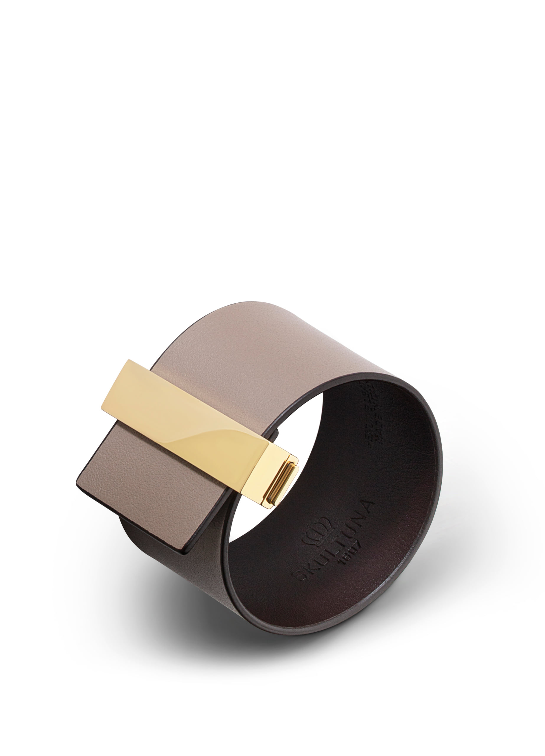 Wide leather bracelet with lock - Grey brown with gold plated