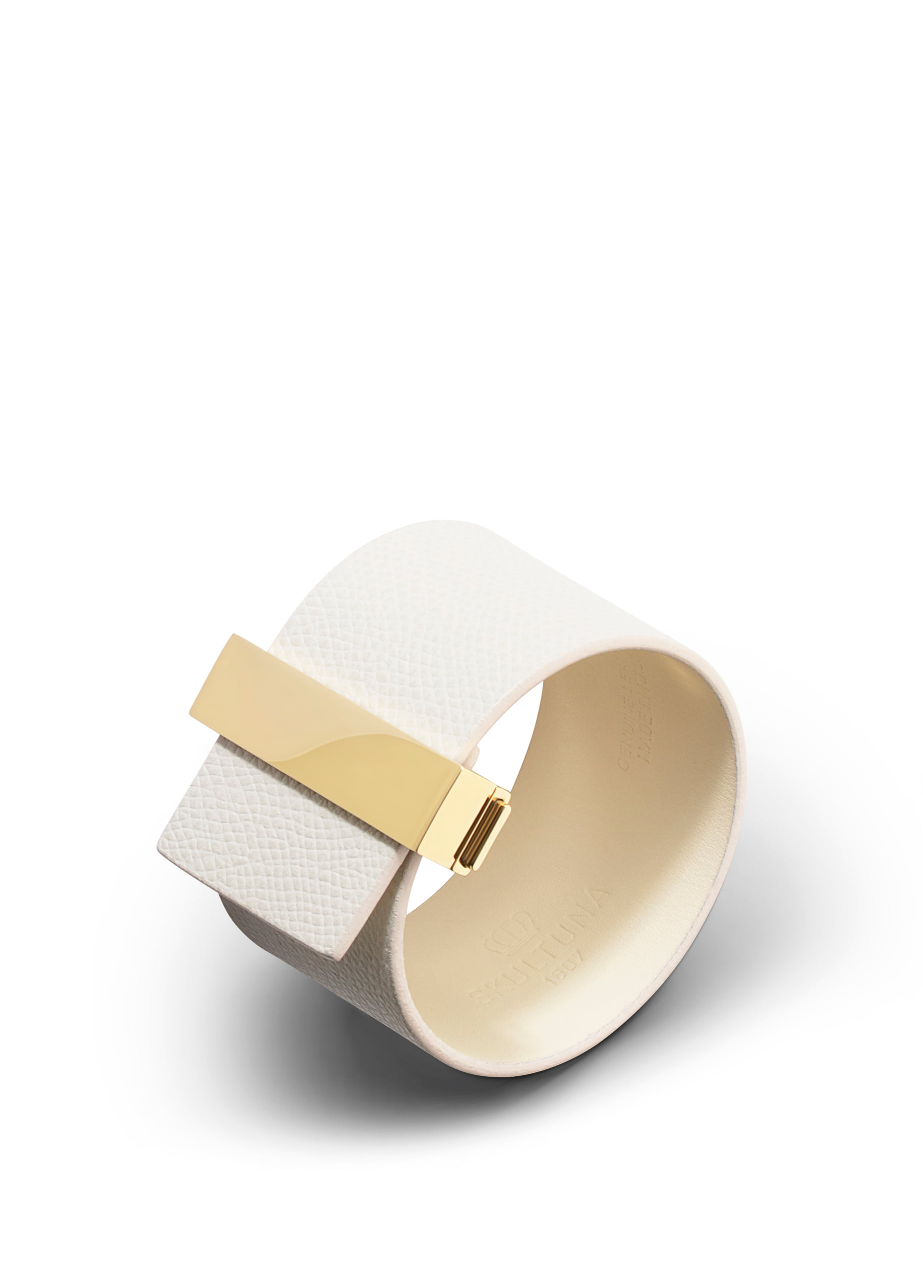 Wide leather bracelet with lock -  Ivory with gold plated