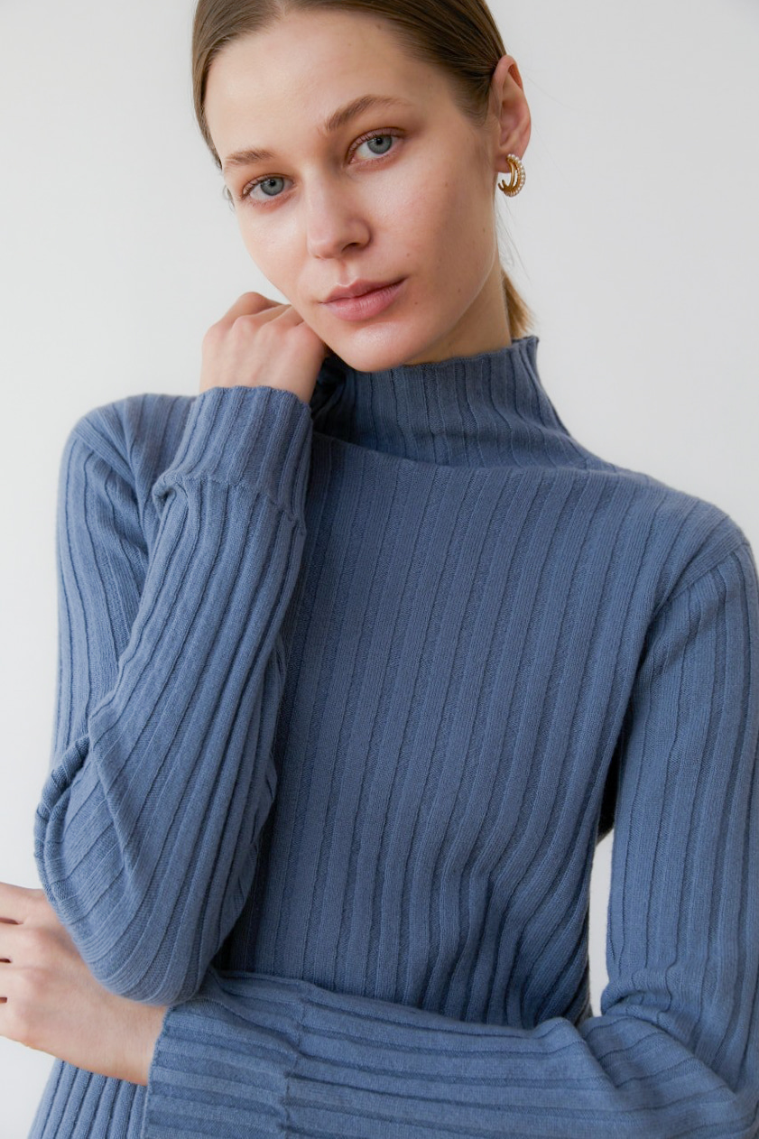 프리미엄 캐시미어 100 골지 스웨터 [Pure cashmere100 ribbed soft-touch sweater by whole-garment knitting -Blue roy]