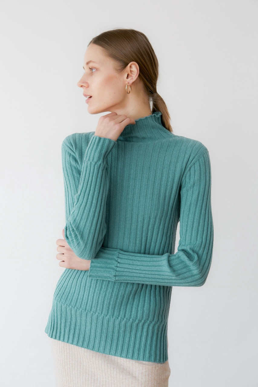 프리미엄 캐시미어 100 골지 스웨터 [Pure cashmere100 ribbed soft-touch sweater by whole-garment knitting -Malachite]