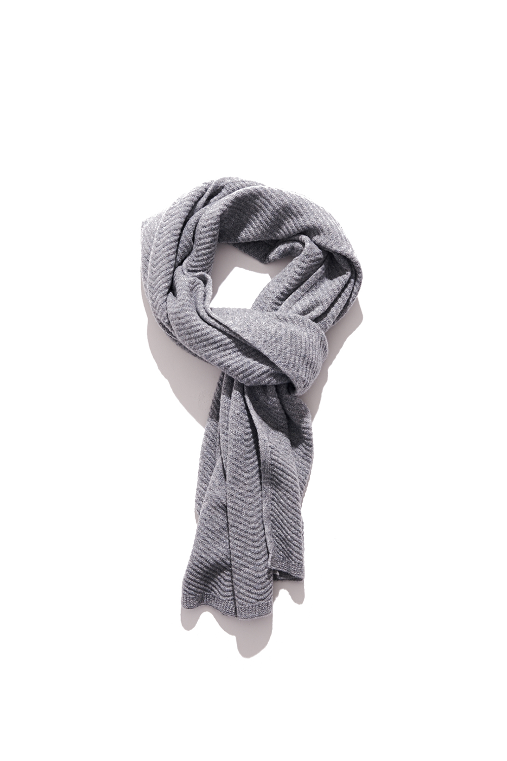 Premium pure cashmere100 whole-garment knitting shawl and scarf - Light gray (인기 상품)