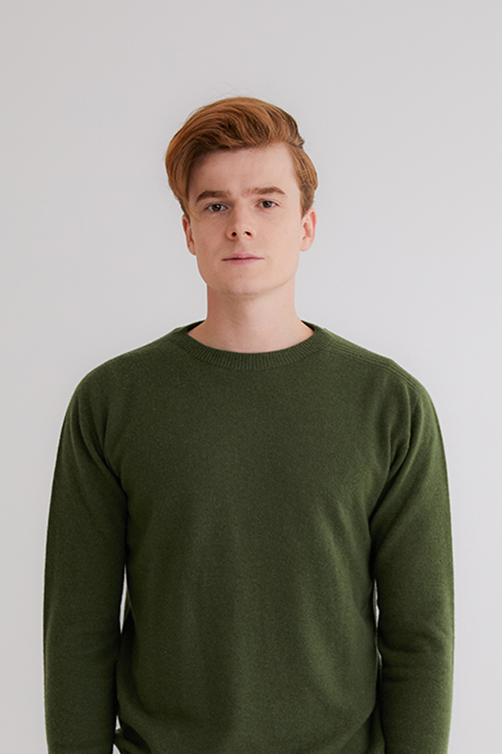 Pure cashmere100 whole-garment knitting roundneck pullover - Royal khaki (한정 수량)