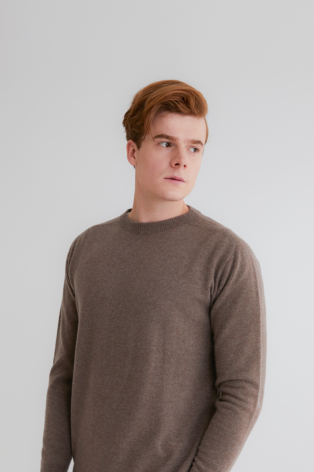 Pure cashmere100 whole-garment knitting roundneck pullover - Warm brown (인기 상품)