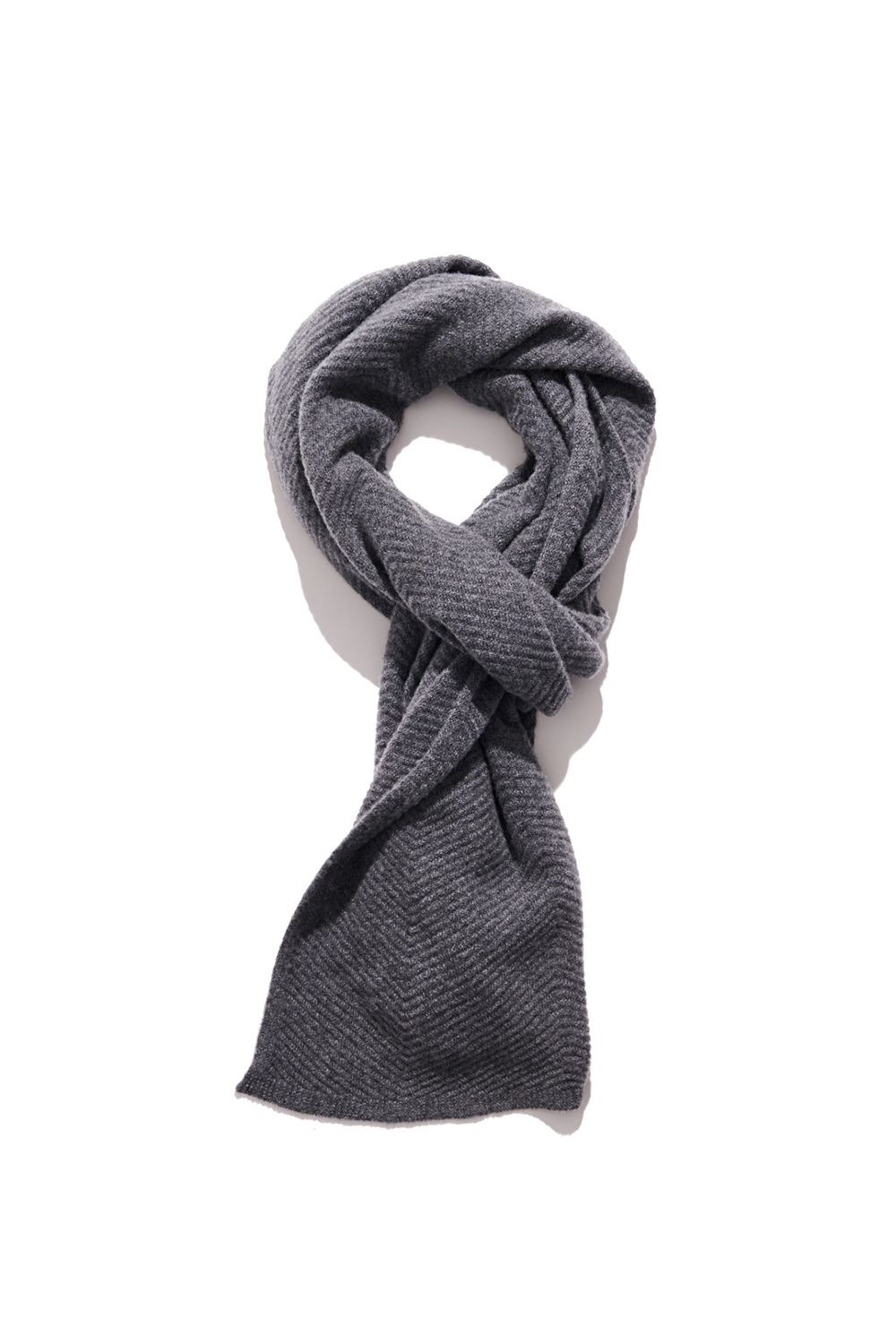 Premium pure cashmere100 whole-garment knitting shawl and scarf - Dark gray