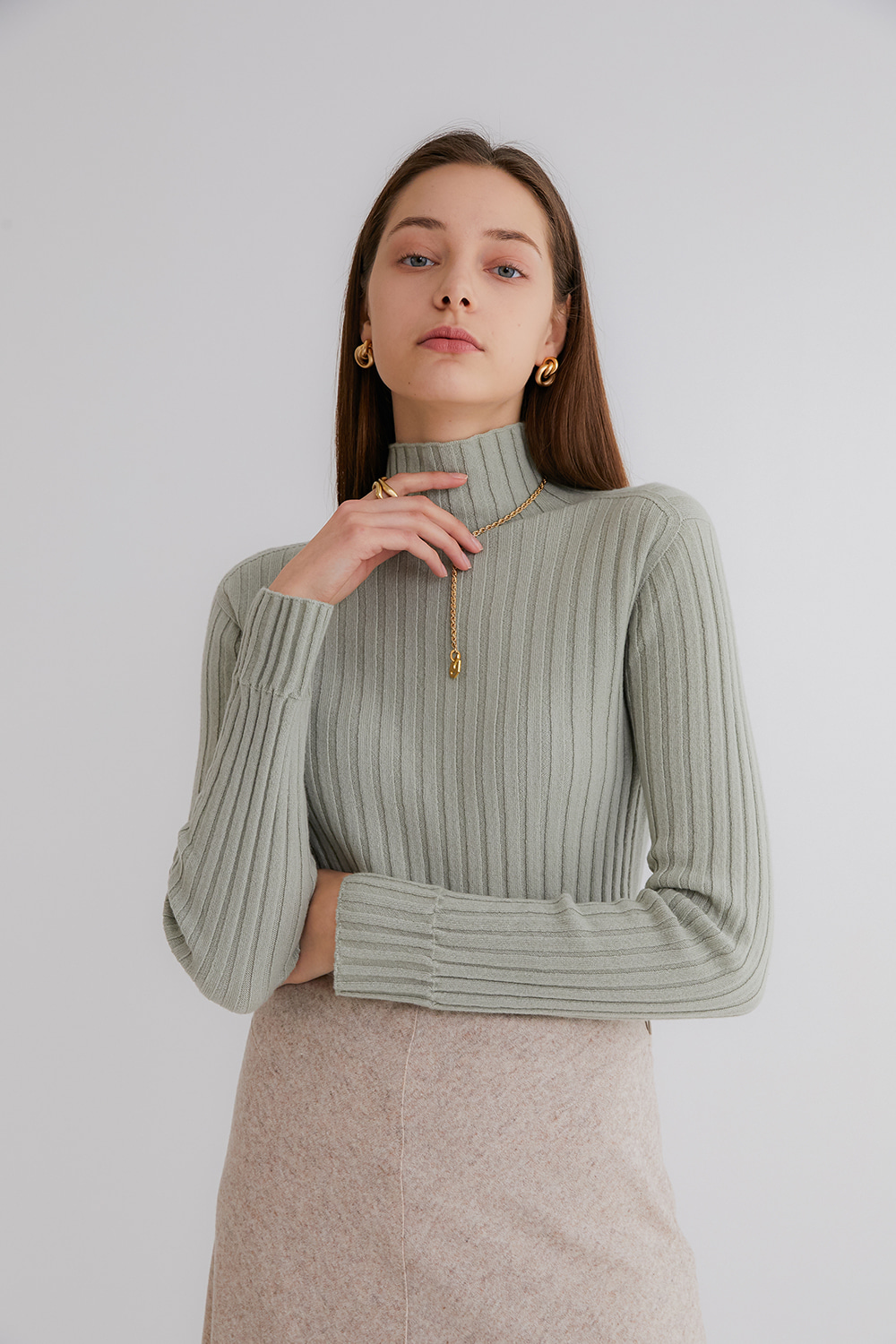 Pure cashmere100 ribbed soft-touch sweater by whole-garment knitting - SAGE MINT (인기 상품/주문 폭주)