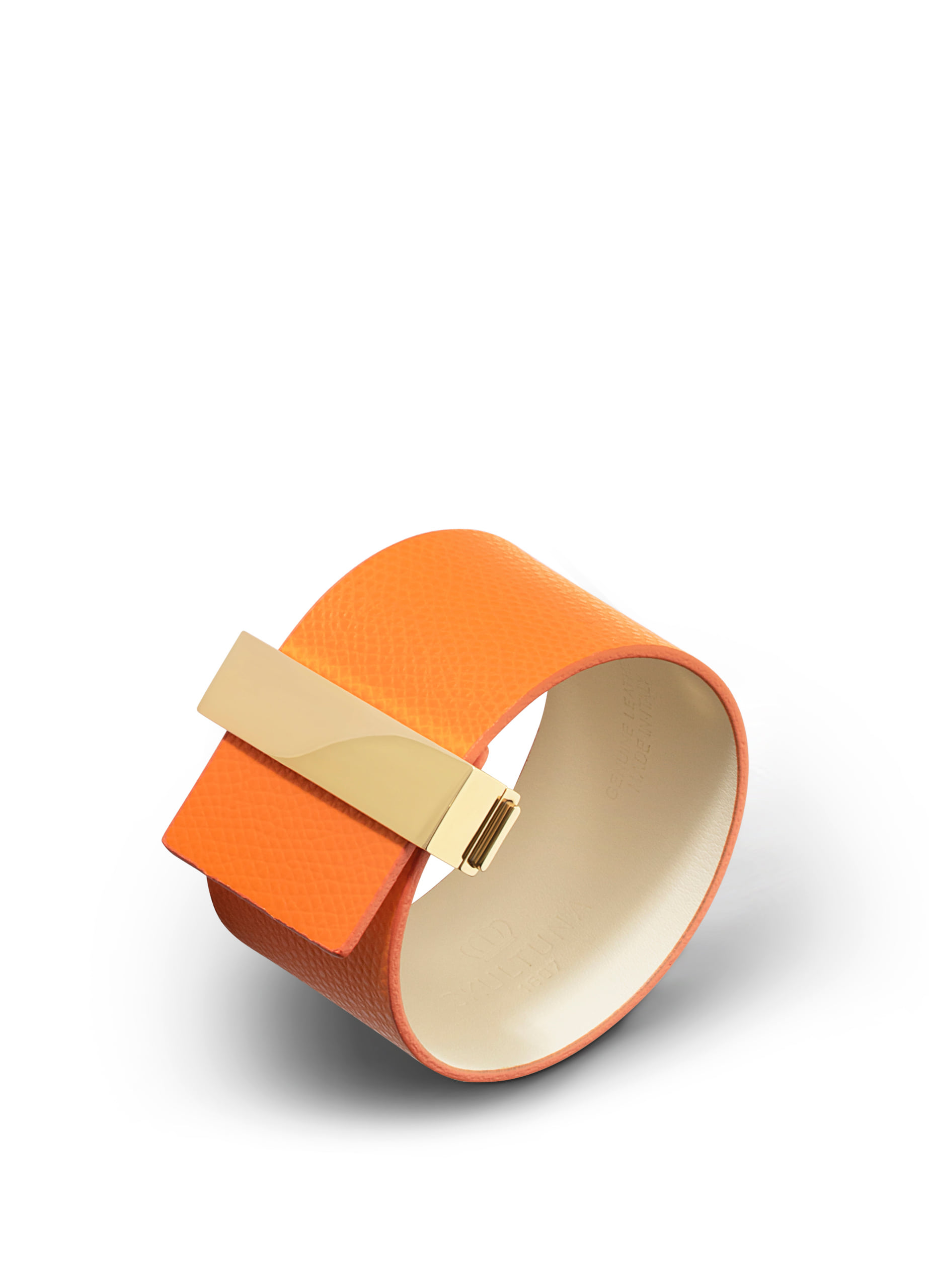Wide leather bracelet with lock - Orange with gold plated