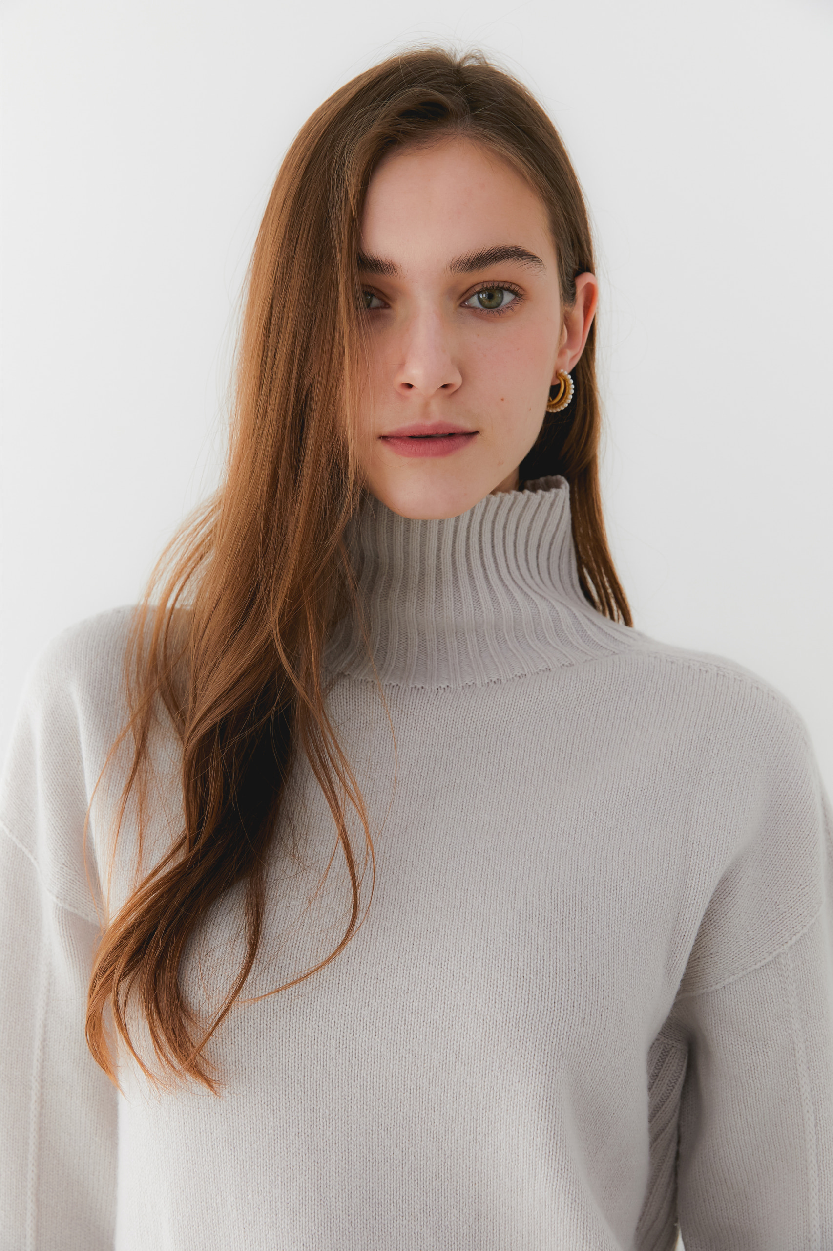 프리미엄 캐시미어 100 풀오버 [Pure cashmere100 whole-garment knitting turtleneck pullover - Dove gray]
